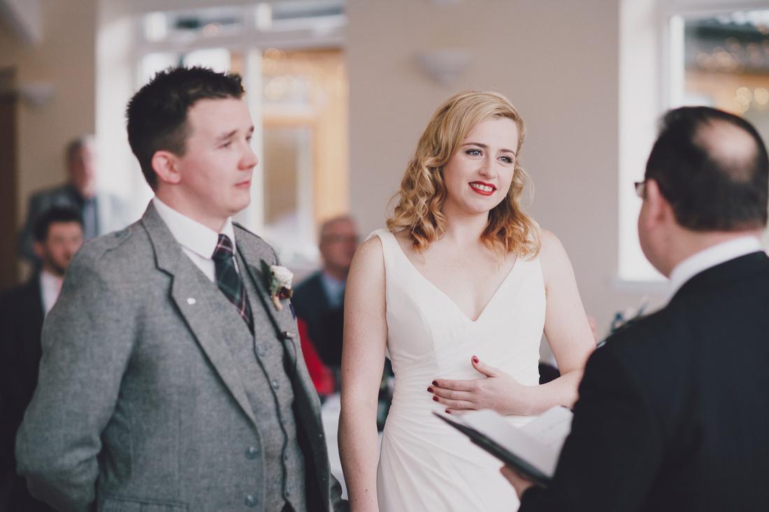 Bride and Groom Ceremony Kinlochard Village Hall Wedding Scotland