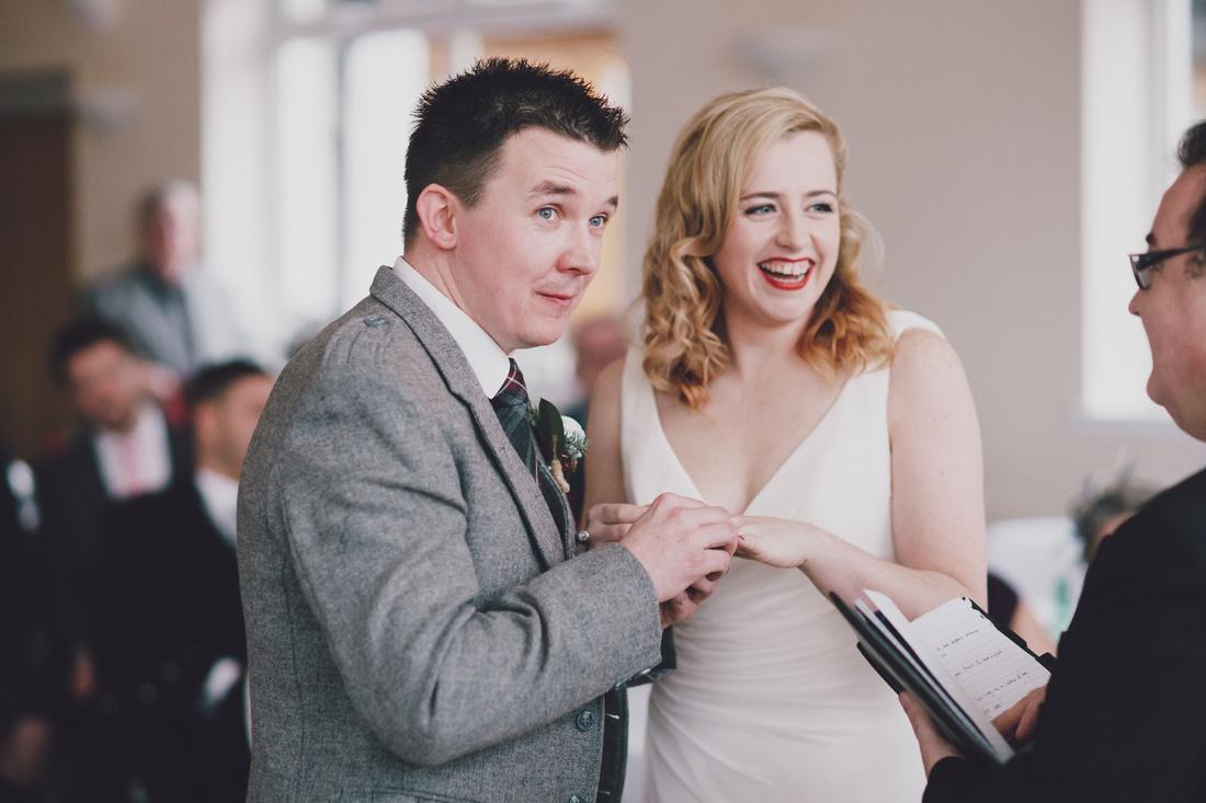 The ring Bride and Groom Ceremony Kinlochard Village Hall Wedding Scotland