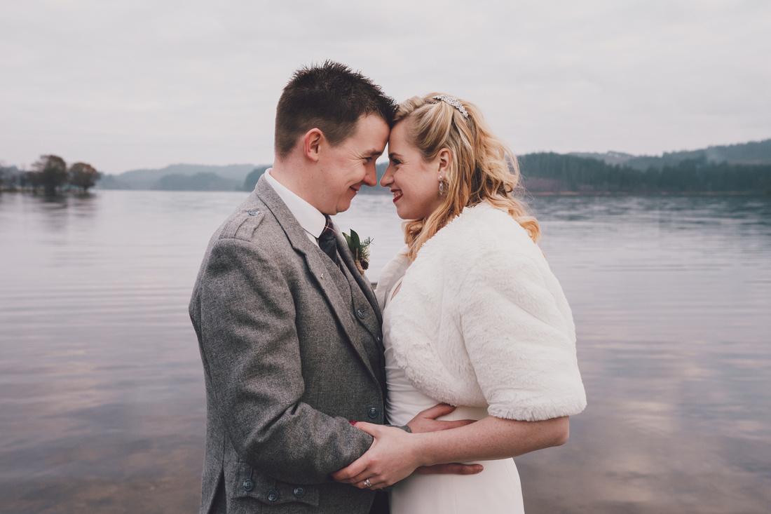 Wedding couple Pier Kinlochard Village Hall Wedding Scotland Loch Ard