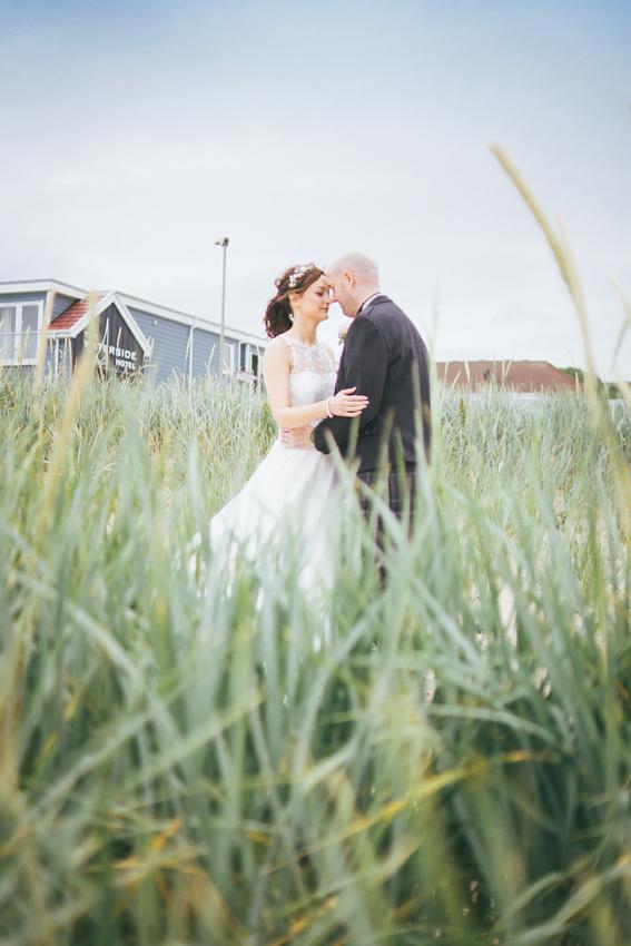 Bride and Groom grass Beach  Wedding Photos Waterside hotel Ayrshire