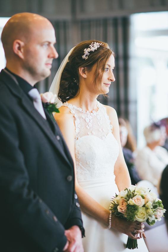 Wedding Ceremony bride and groom Waterside hotel Ayrshire