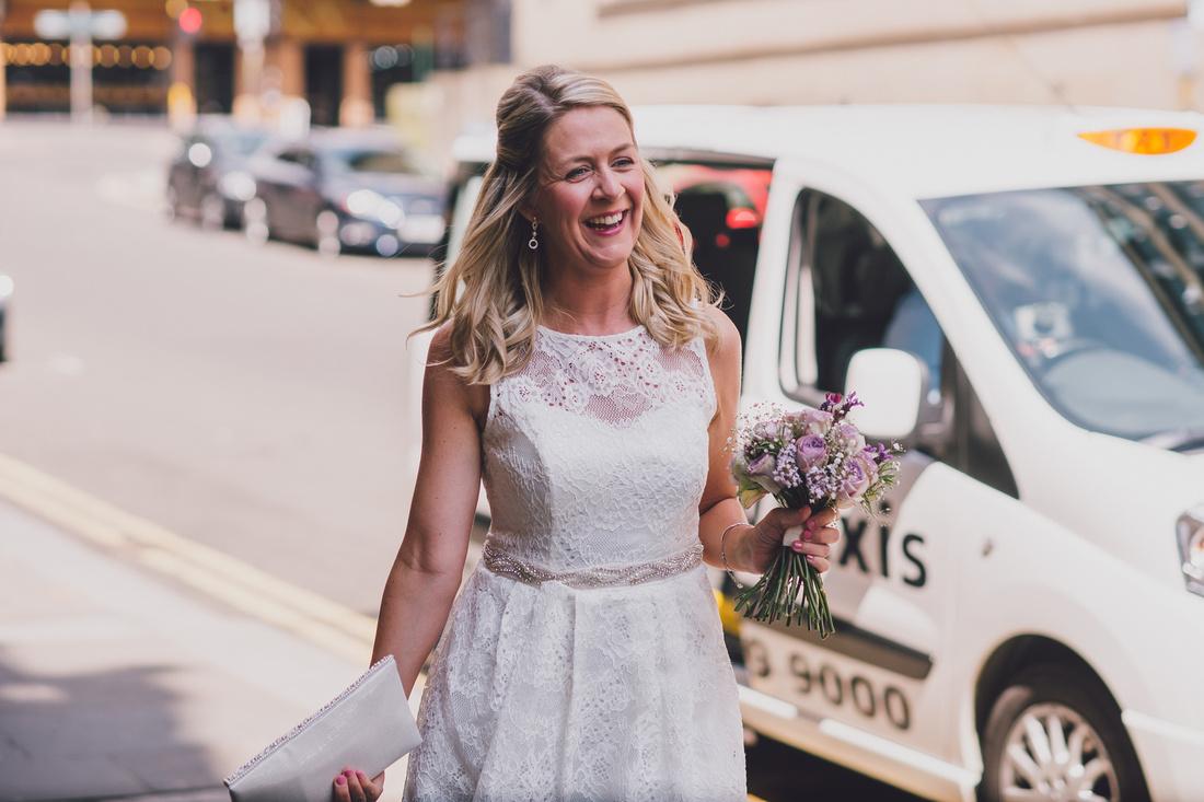 Bride arriving Montrose Street Glasgow