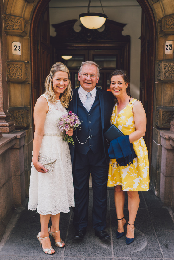 Bride bridesmaid and father Montrose Street Glasgow