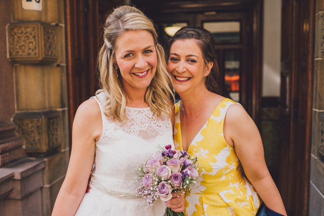 Bride and bridesmaid Montrose Street Glasgow