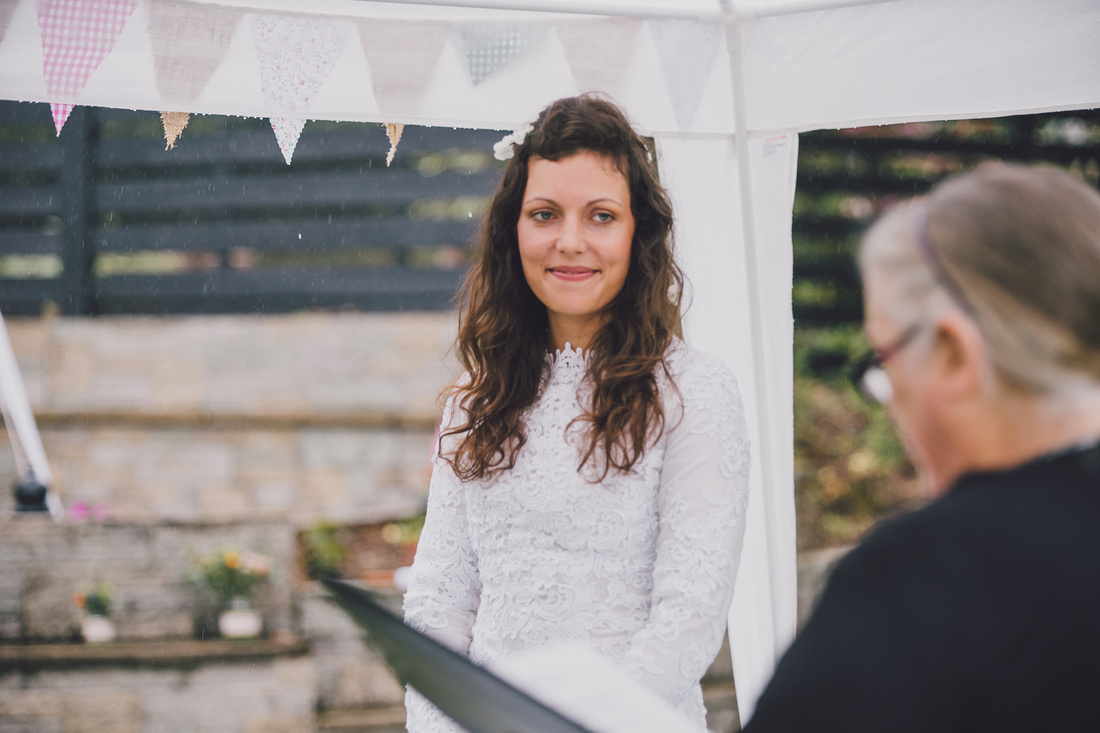 bride at lawn ceremony forrest hills aberfoyle
