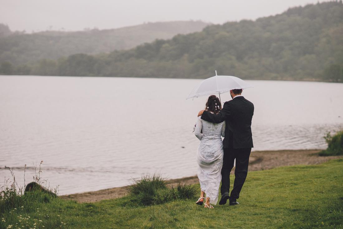 Wedding couple Kinlochard view