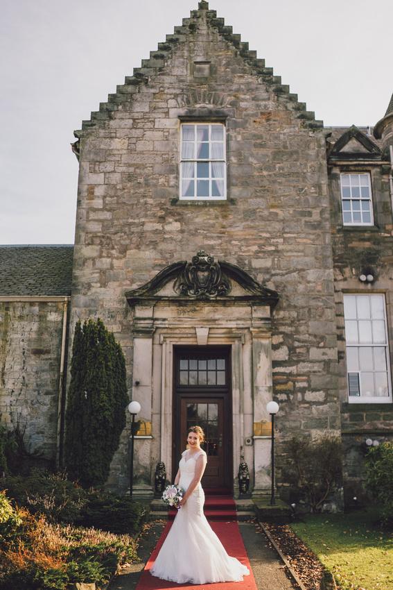 Bride outside Kilconquhar Castle