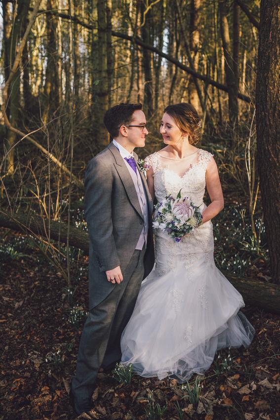 Woodland couple shoot snowdrops