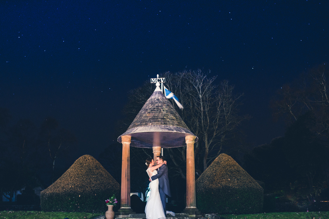 Bride and Groom under the stars at Kilconquhar Castle