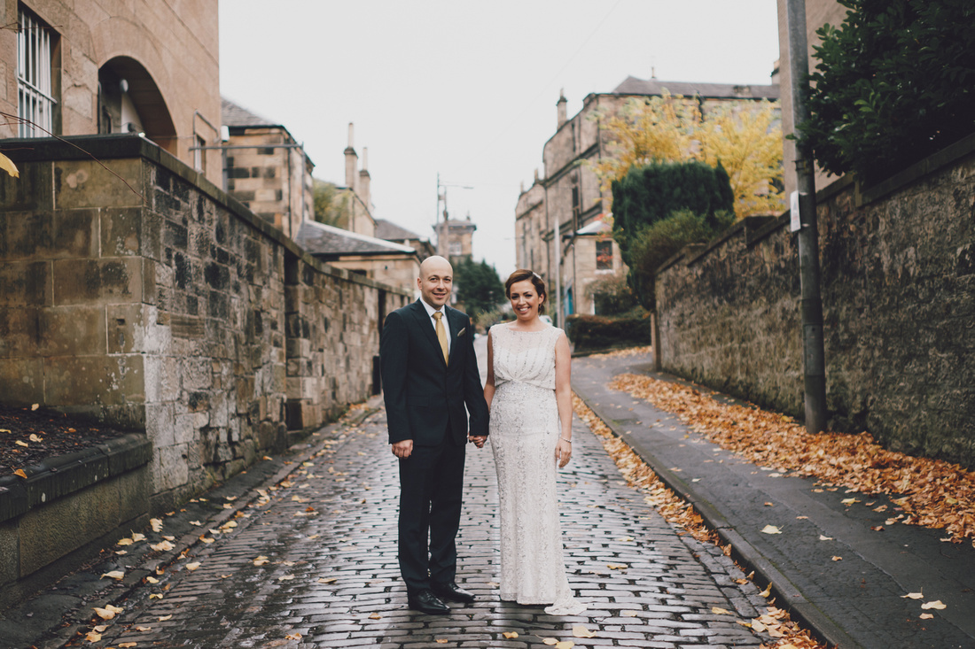 Down the lane wedding couple Hotel du Vin