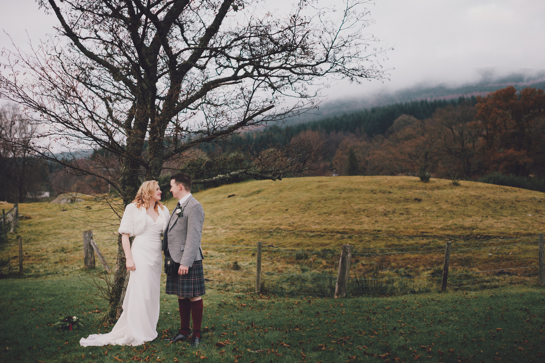 Bride and Groom Mountains forest Kinlochard Village Hall Wedding Scotland