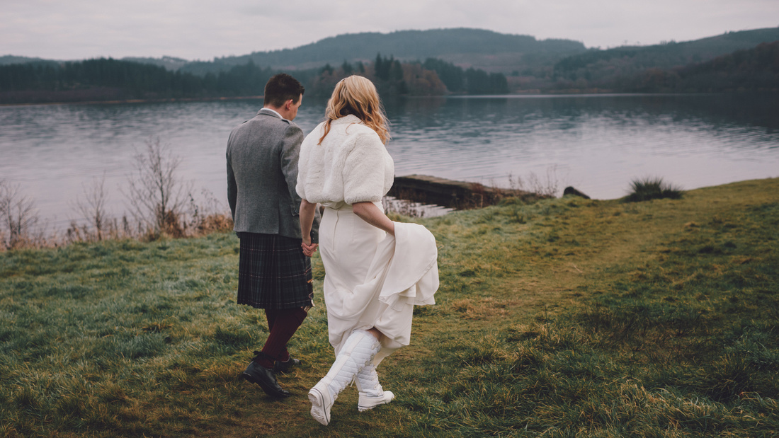 Walking white boots Kinlochard Village Hall Wedding Scotland
