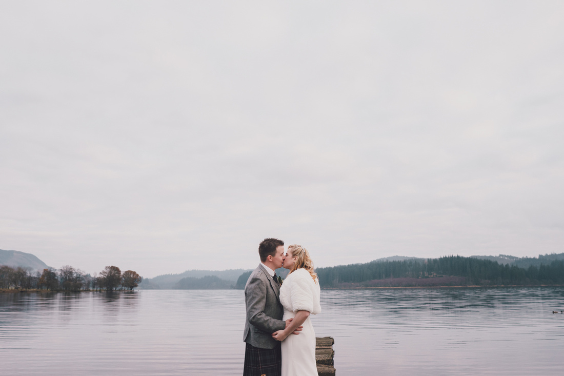Wedding couple Pier Kinlochard Village Hall Wedding Scotland Loch Ard