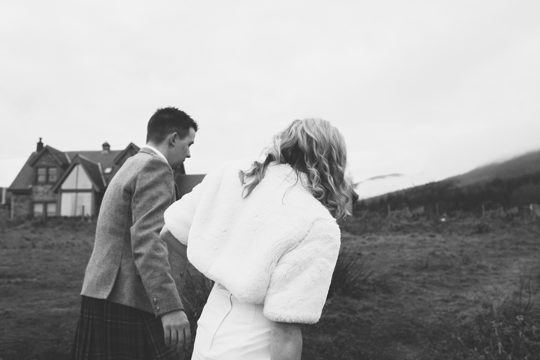Walking Kinlochard Village Hall Wedding Scotland