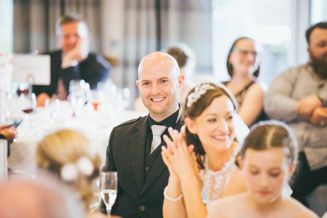 Bride and Groom speeches Wedding Photos Waterside hotel Ayrshire