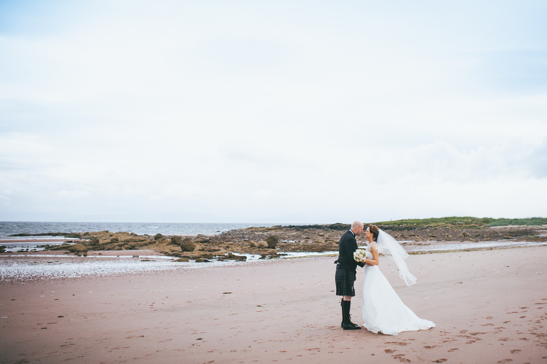 Bride and Groom Beach Couple time shoot Wedding Photos Waterside hotel Ayrshire
