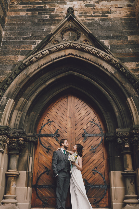 Cottiers Glasgow bride and groom big doors