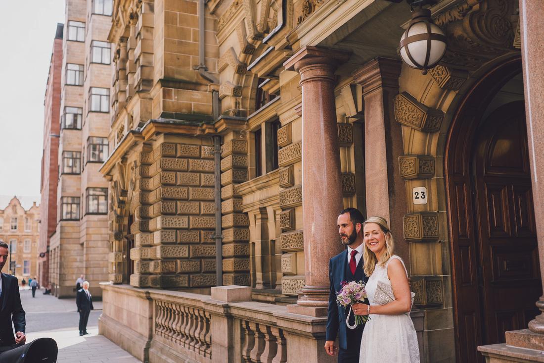 Wedding couple outside Montrose Street