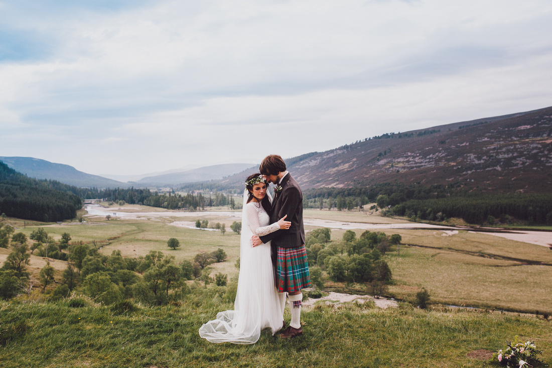 Mar Lodge Estate view with wedding couple