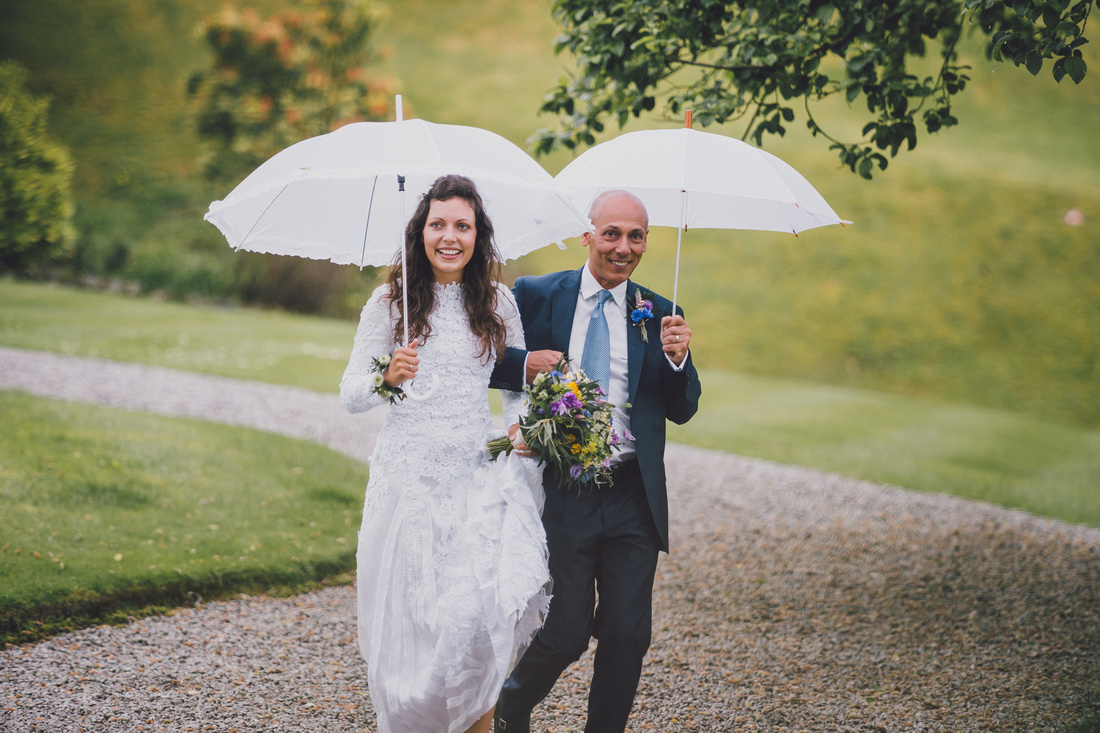 Bride and father of bride arriving at lawn ceremony forrest hills aberfoyle