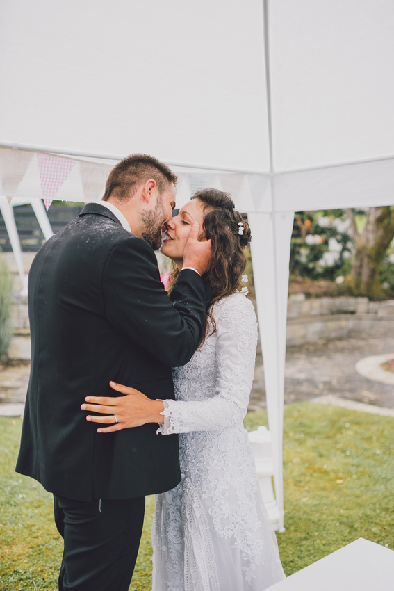 First kiss at lawn ceremony forrest hills aberfoyle
