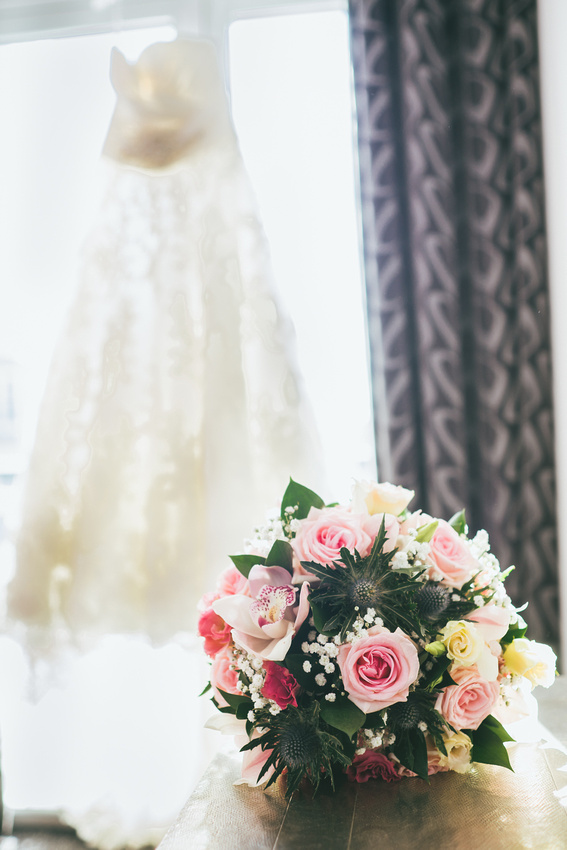 Brides dress with flowers