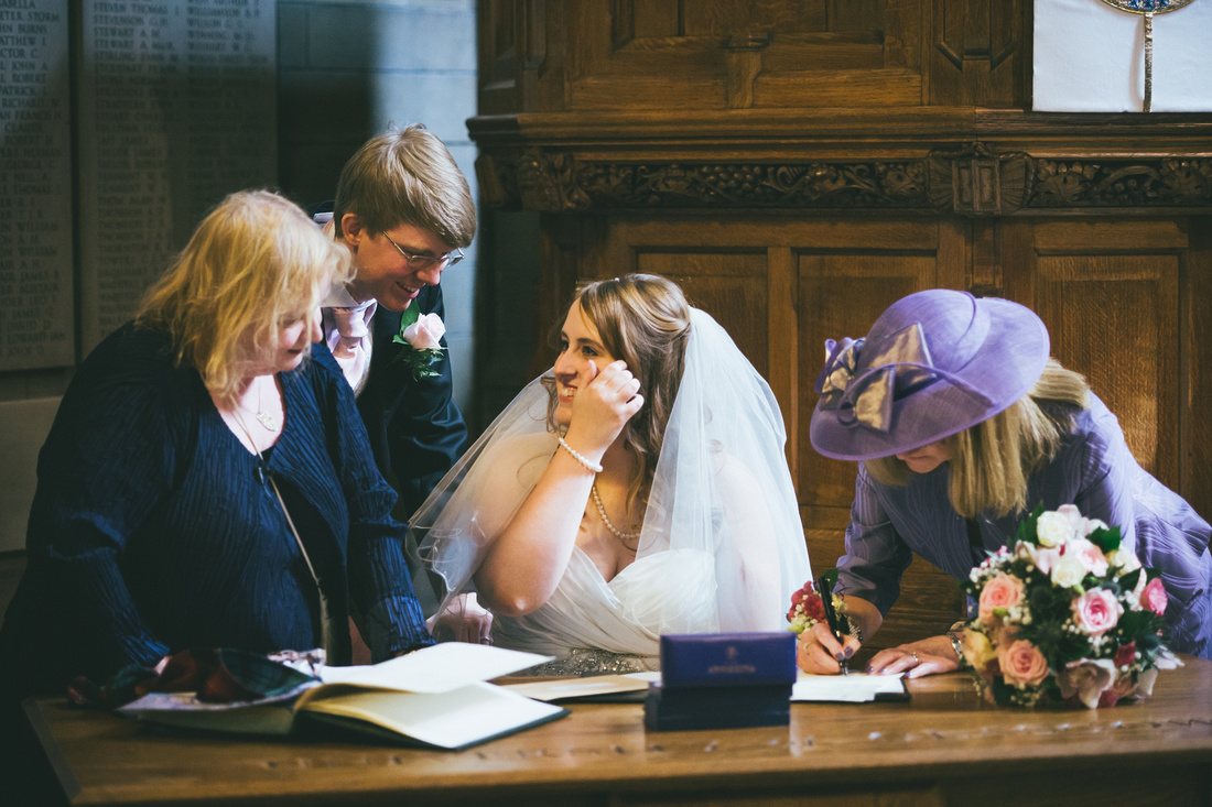 happy bride at Glasgow University Chapel