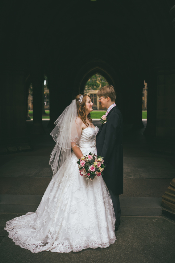 Wedding couple time at the Glasgow University Cloisters