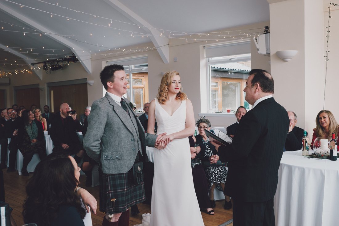 Bride and Groom Ceremony Kinlochard Village Hall Wedding Scotland