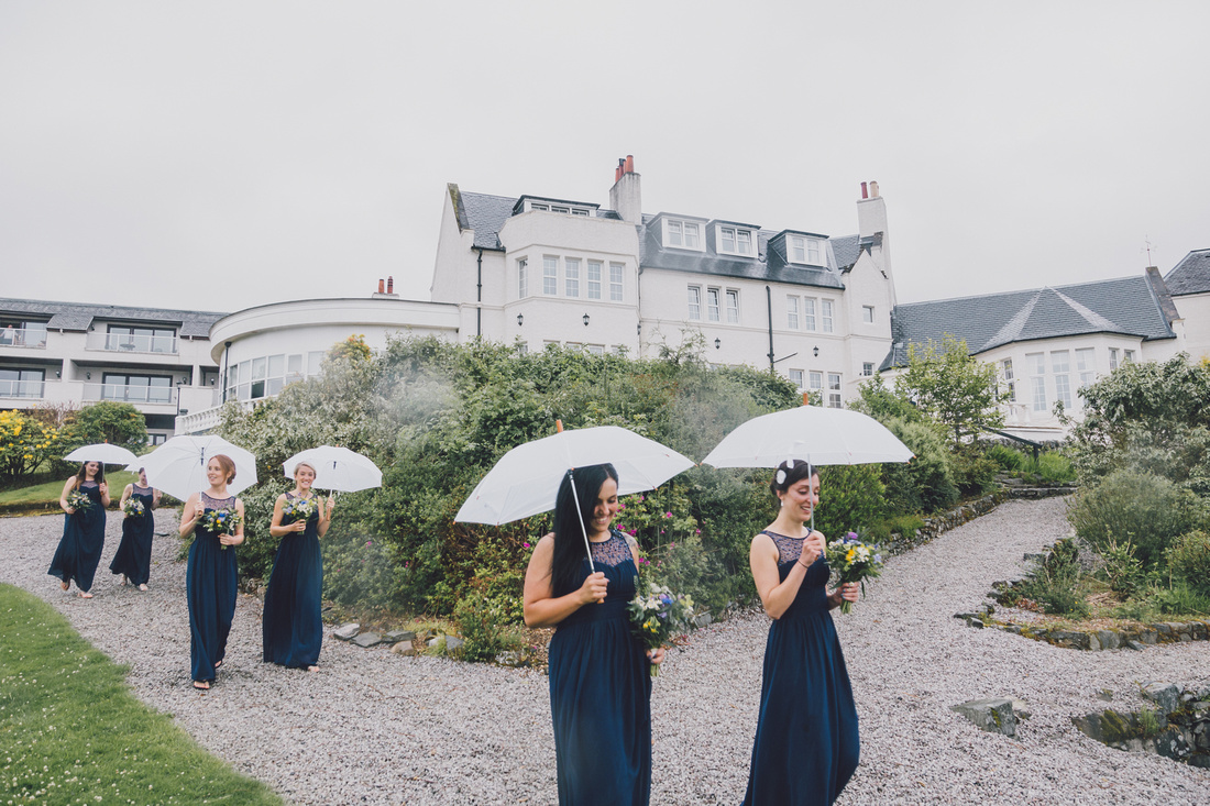 Bridesmaids arriving at Forrest Hills Aberfoyle