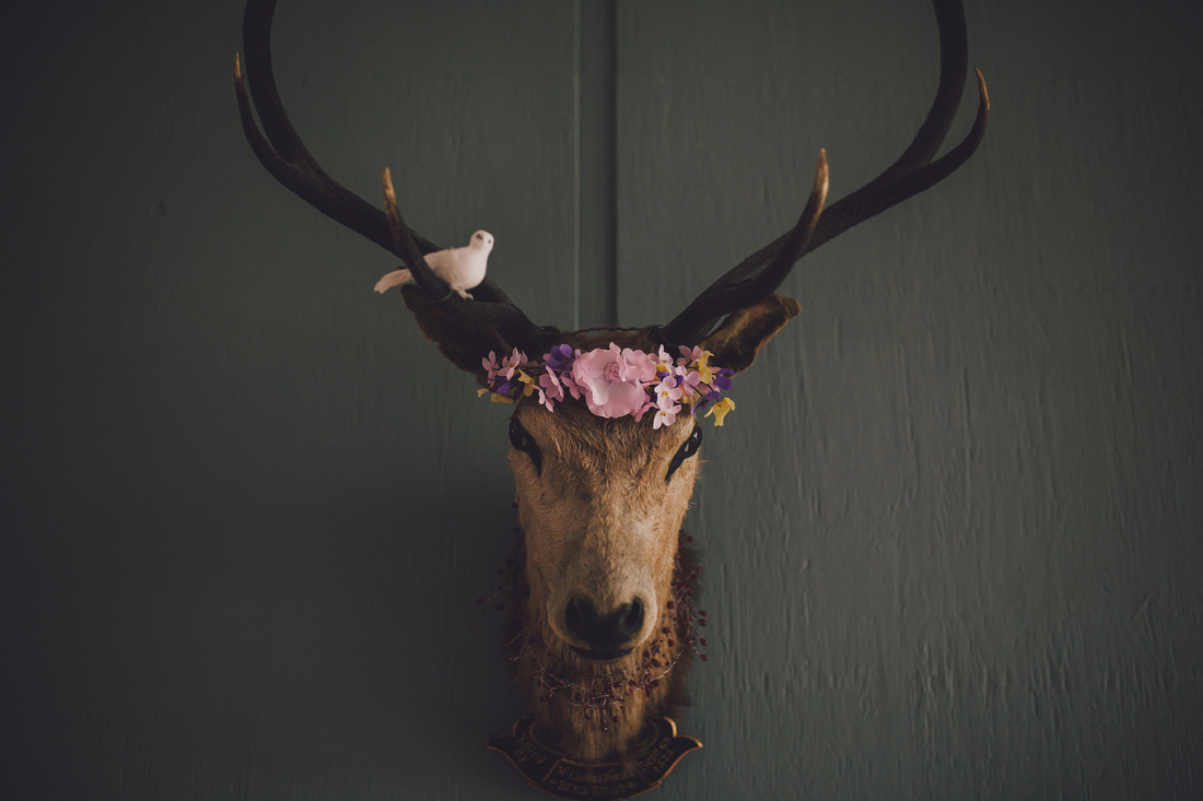 Stags head with flowers