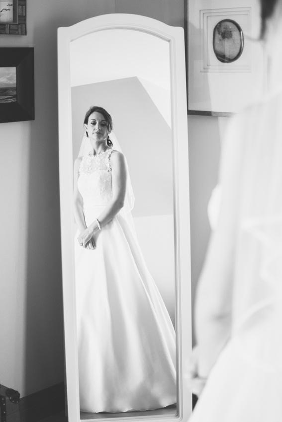 Bride looking into mirror Waterside hotel Ayrshire