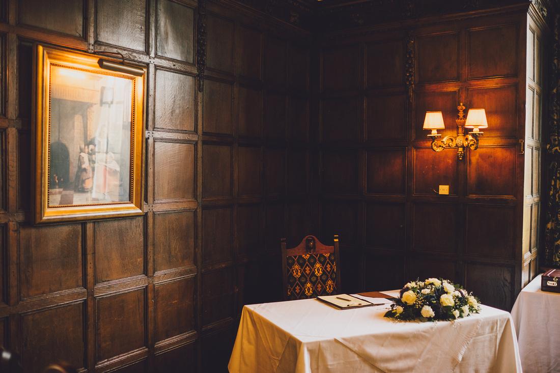 Kilconquhar Castle interior signing table