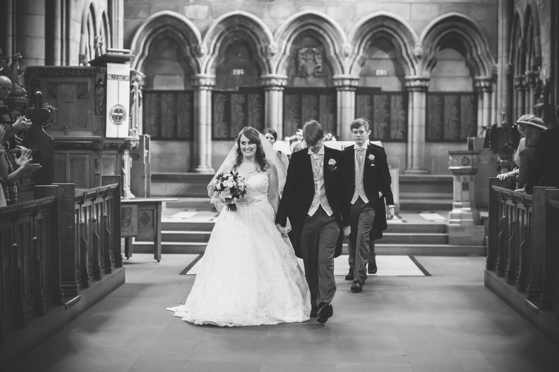Walking down the aisle at Glasgow University Chapel