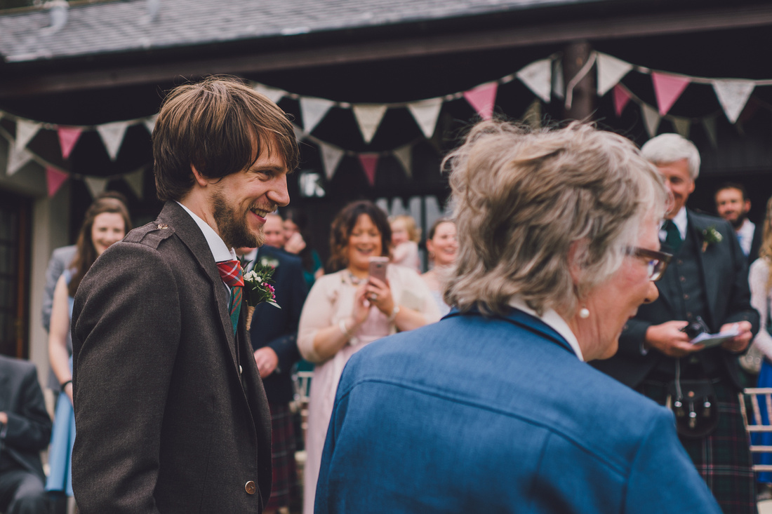 Groom seeing Bride for first time at Mar Lodge estate cottages